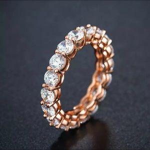 Jewelry - 18k Rose Gold Diamond Cz Eternity Band Ring